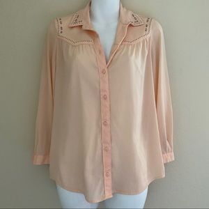 American Eagle Blush Long Sleeve Blouse